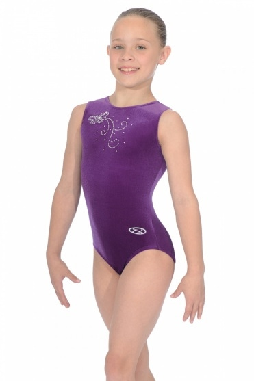 Butterfly Crystal Motif Smooth Velour Leotard