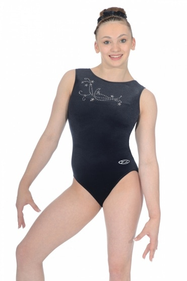 Fanfare Crystal Motif Smooth Velour Leotard