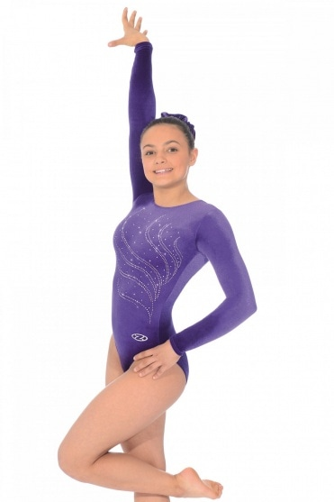 Tiara Crystal Motif Long Sleeved Gymnastics Leotard