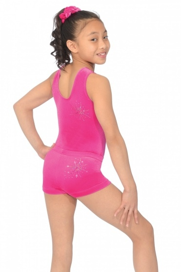 Twist Smooth Velour Gymnastics Shorts with Motif