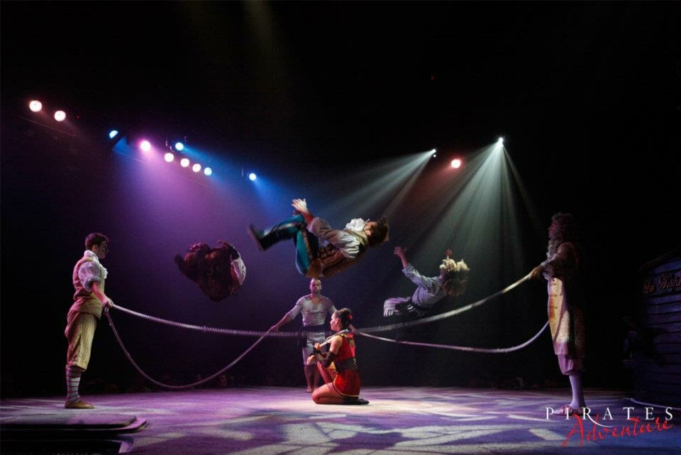Bradley Hampson (left) with other experienced acrobats