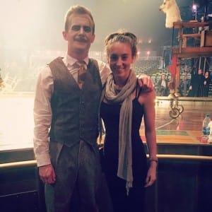 ack Helme in costume, with Sophia Singleton