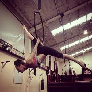 Sophia Singleton practicing on the aerial hoop