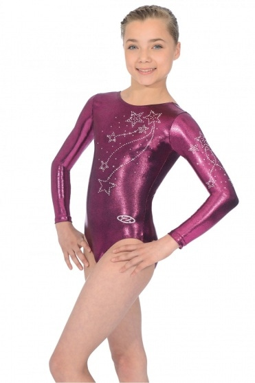 Ariel Long Sleeved Crystal Motif Leotard