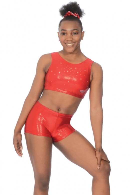 Chic Shiny Nylon Lycra Gymnastics Crop Top with Crystals