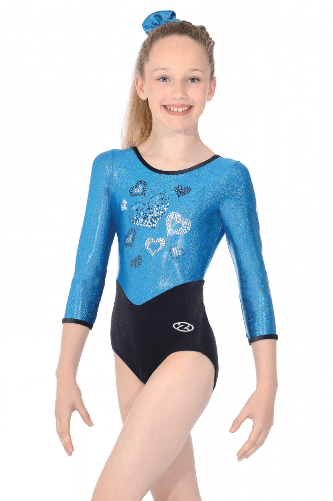 Girls Crush Round Neck 3/4 Sleeve Shine Gymnastics Leotard