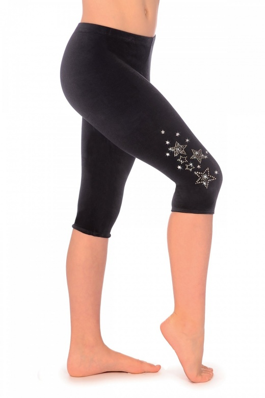 Dazzle Smooth Velour Capri Leggings with Jewel Star Motif