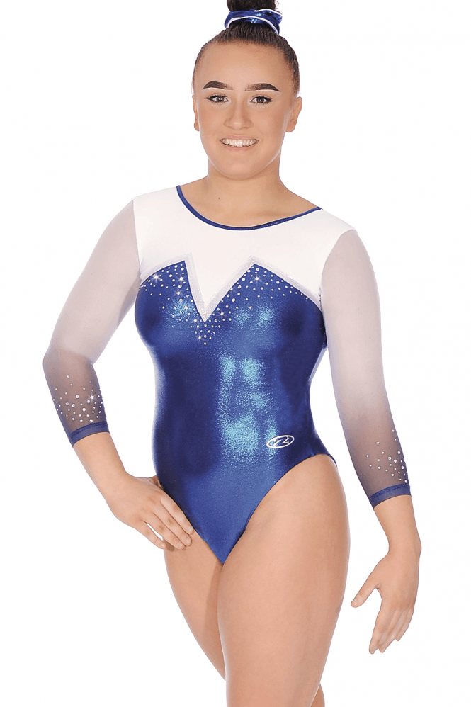 Finesse Crystal Motif Leotard with Ombré 3/4 Sleeves
