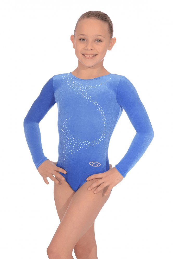 Long Sleeve Smooth Velour Gymnastics Leotard Motif 1