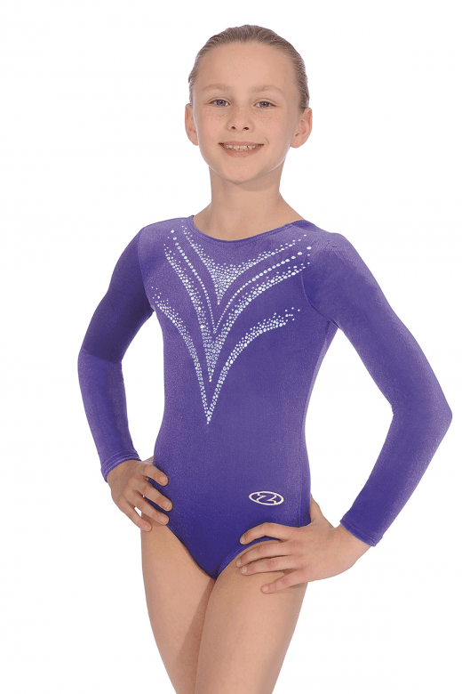 Long Sleeve Smooth Velour Gymnastics Leotard Motif 7