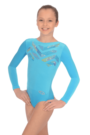Long Sleeve Smooth Velour Leotard Motif 2