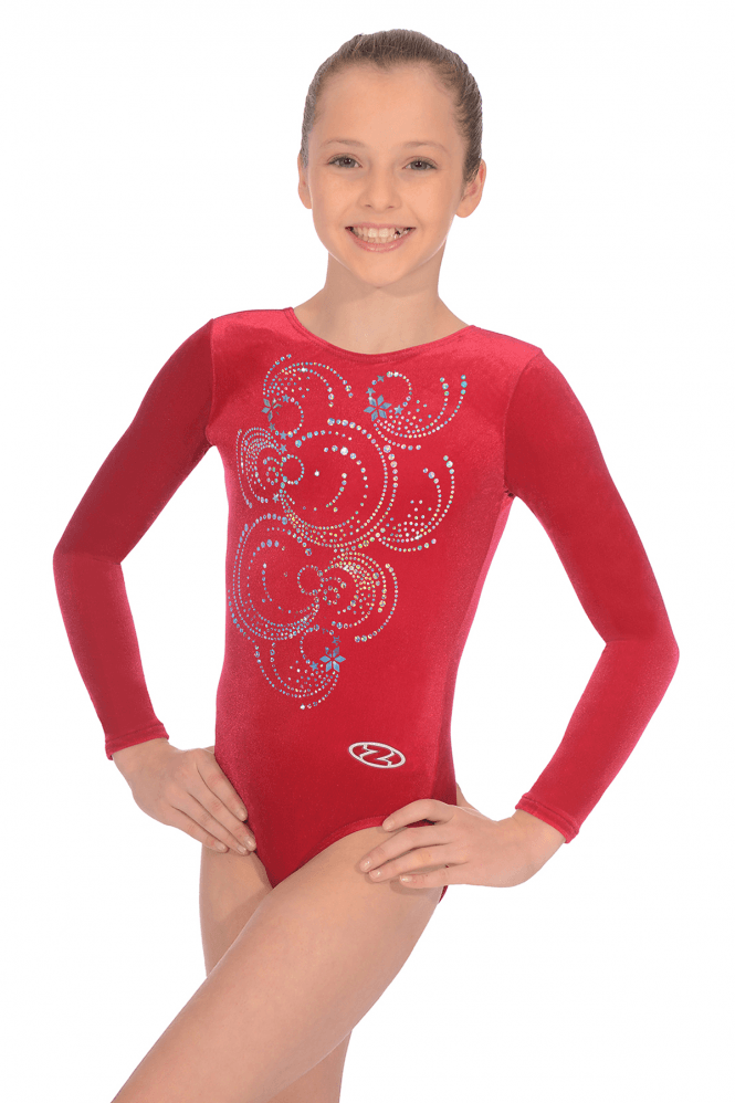 Long Sleeve Smooth Velour Leotard Motif 5