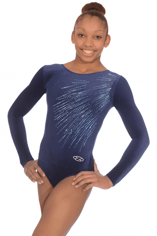 Long Sleeve Smooth Velour Leotard Motif 8