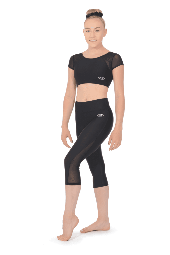 Matt Capri Gymnastics Leggings with Mesh Panels