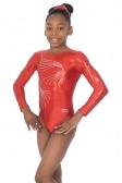 Orla Long Sleeved Crystal Motif Gymnastics Leotard