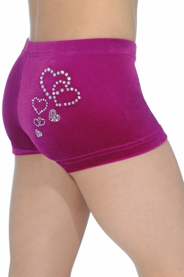Valentine Smooth Velour Hipster Gymnastics Shorts with Heart Motif