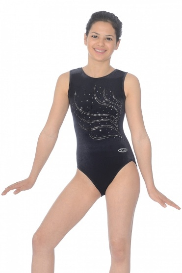 Tiara Crystal Motif Sleeveless Gymnastics Leotard