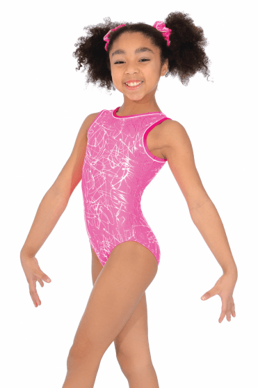 Squiggle Sleeveless Gymnastics Leotard