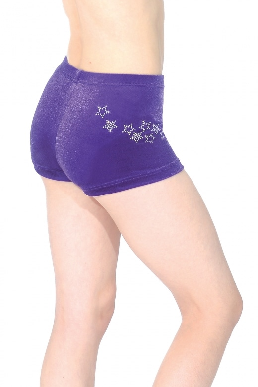 Roxy Smooth Velour Hipster Gymnastics Shorts with Crystal Stars