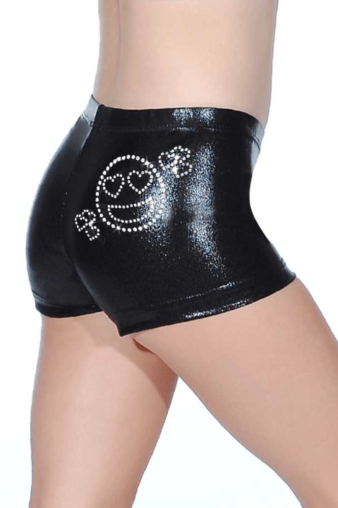Shiny Nylon Hipster Shorts with Smiley Motif