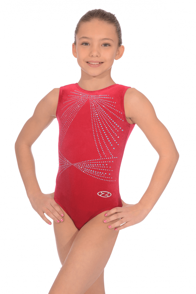 Sleeveless Smooth Velour Gymnastics Leotard Motif 6