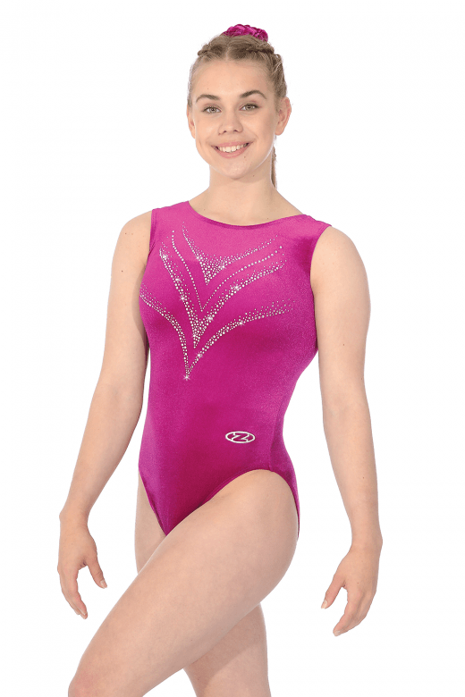 Sleeveless Smooth Velour Leotard Motif 7