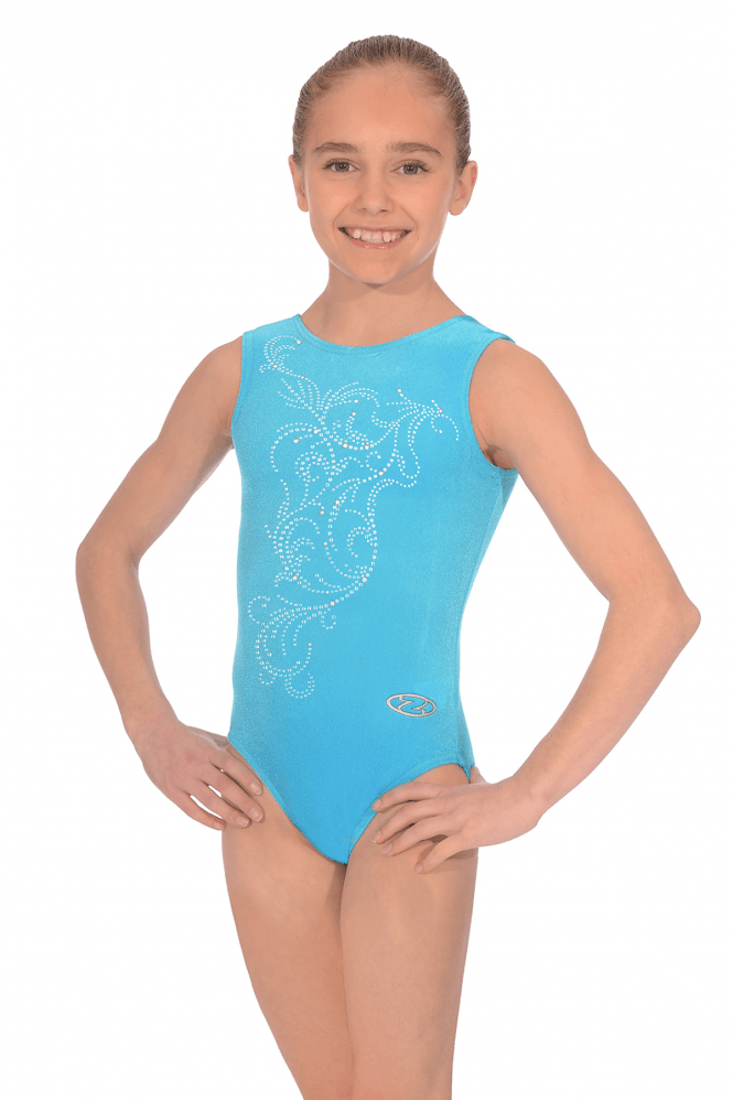 Sleeveless Smooth Velour Leotard Motif M10