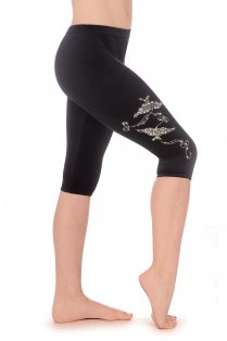 Spirit Smooth Velour Capri Leggings with Jewel Motif