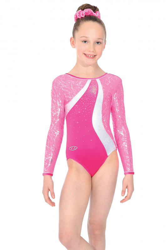c9fb9d181 The Zone Squiggle Girls Gymnastics Leotards - Velour long sleeved leo