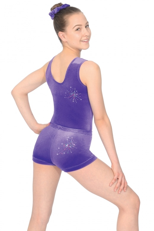Twist Smooth Velour Gymnastics Shorts with Motif