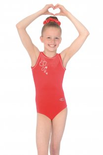 Valentine Crystal Motif Sleeveless Gymnastics Leotard